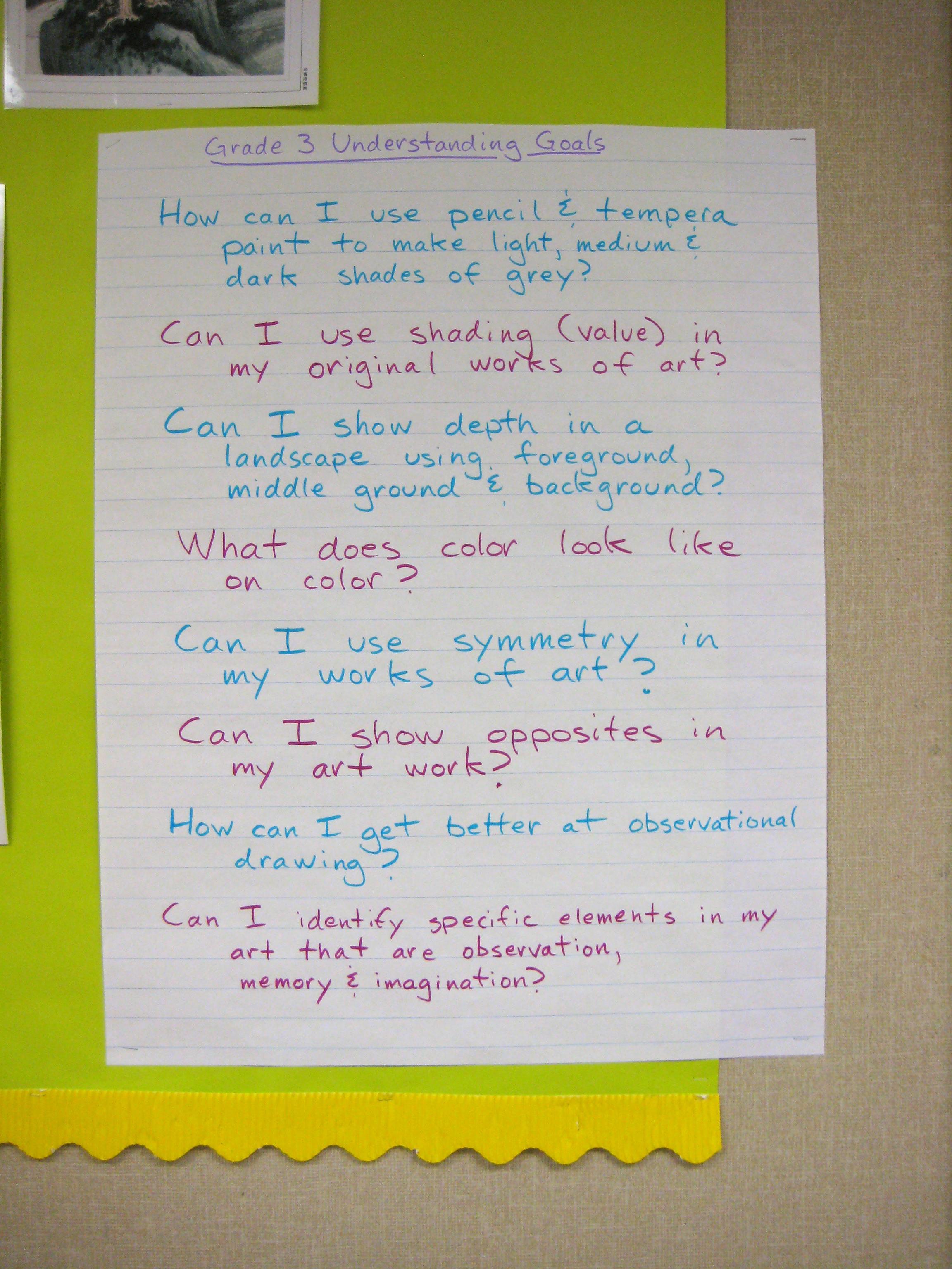 Understanding Goals, Grade 3