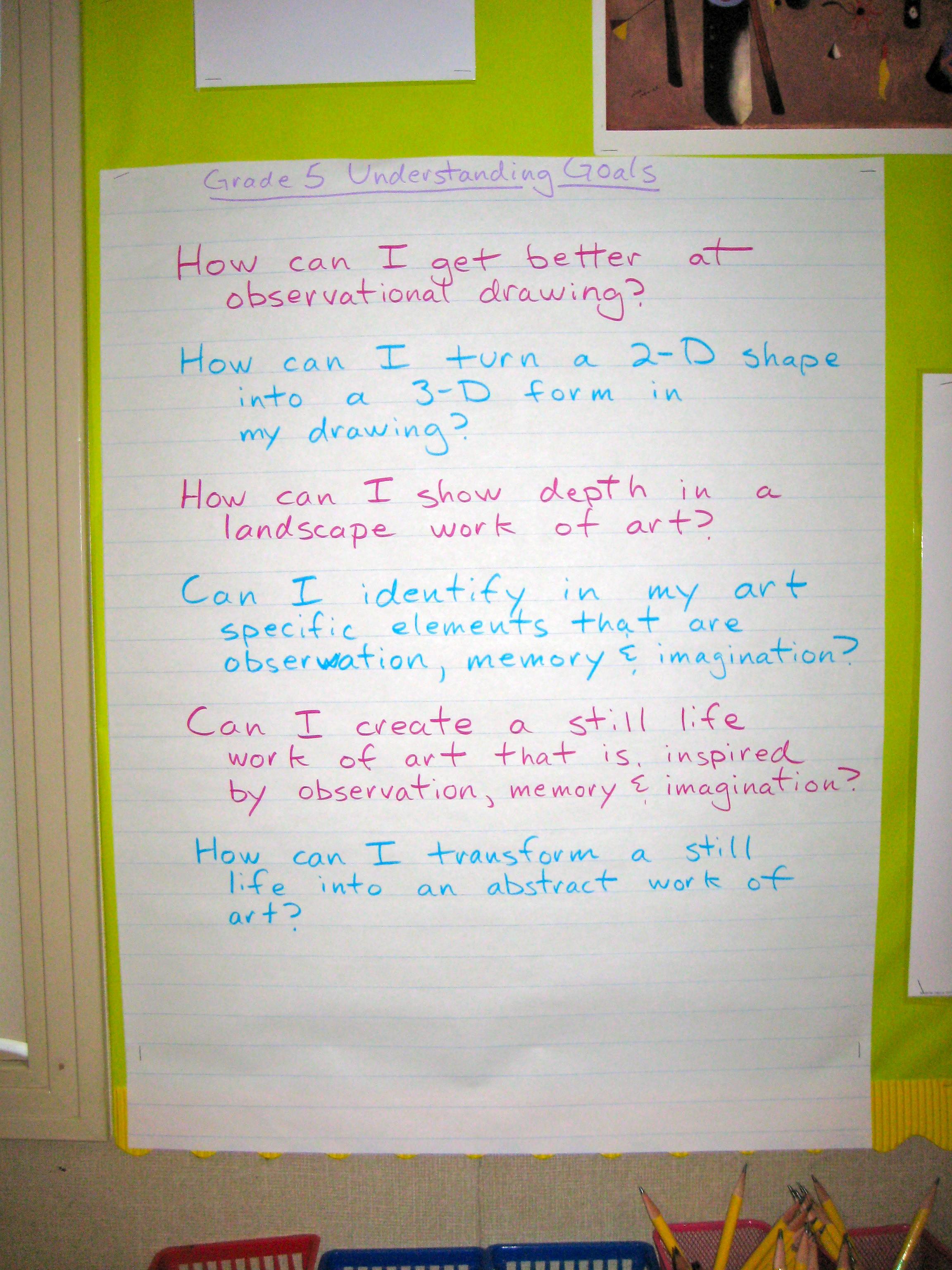 Understanding Goals, Grade 5