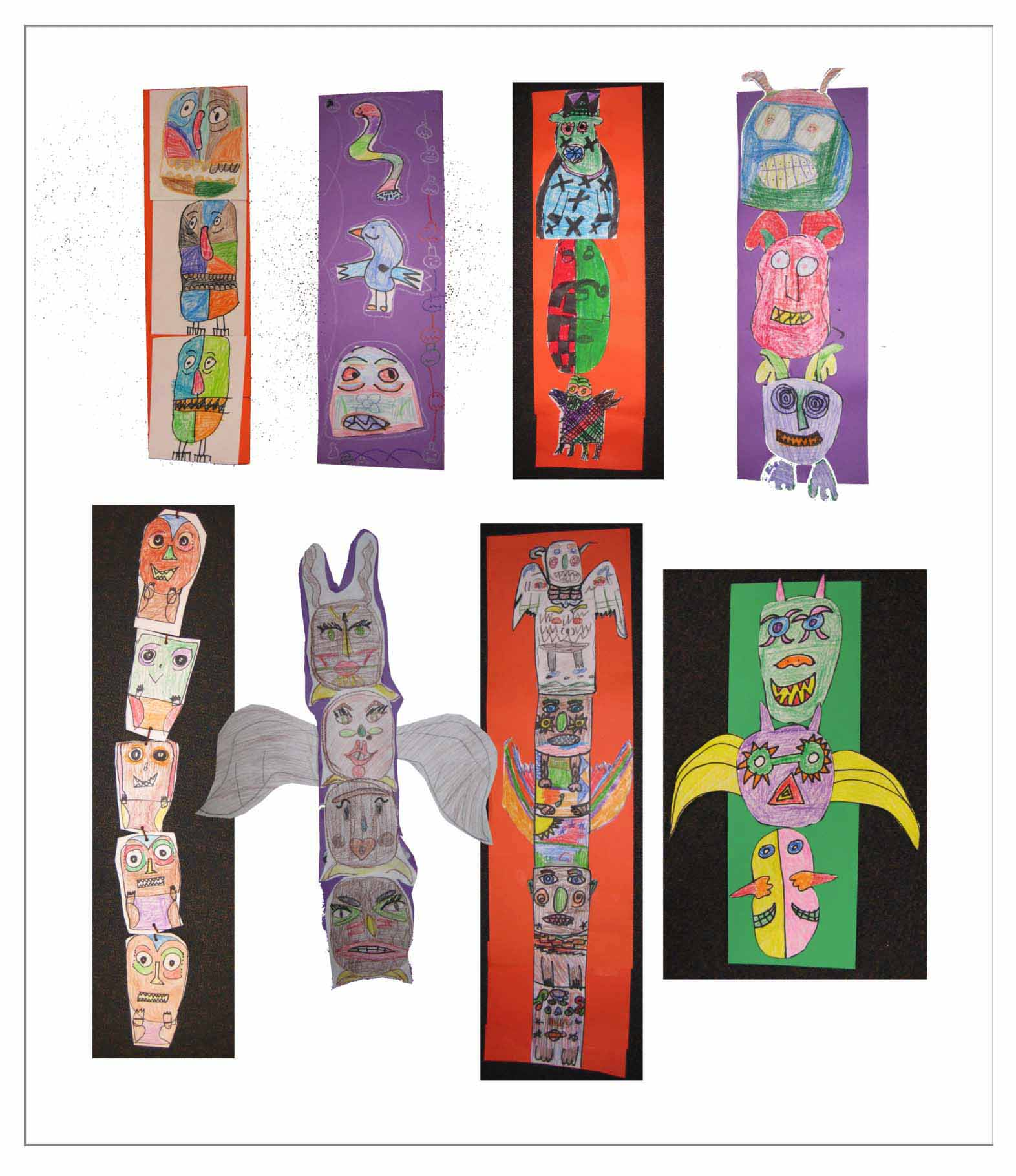 Student art examples from the Totem Pole Project, Grade 4, Washington School
