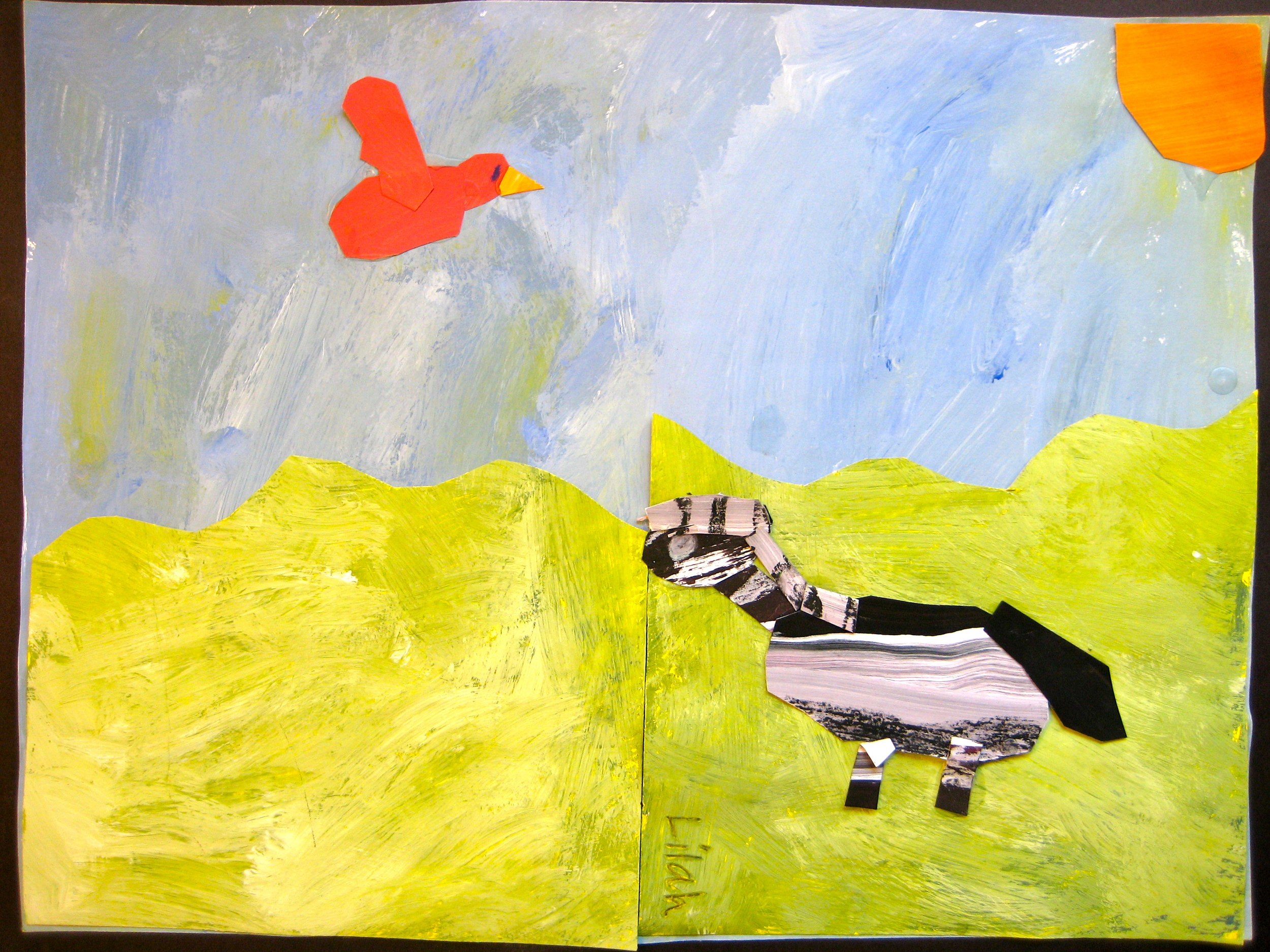 Animals in a Landscape, Collage, Grade 2