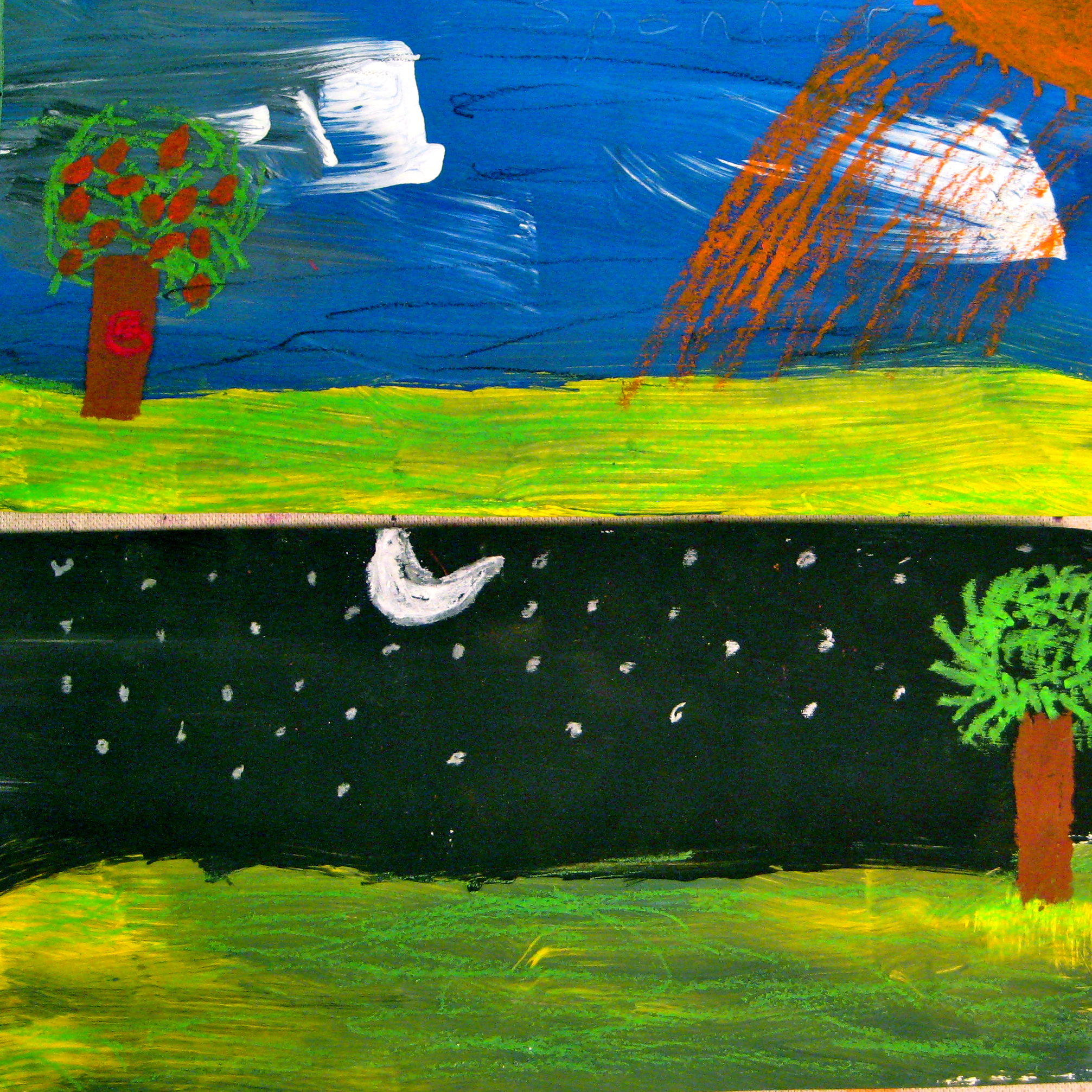 "Grade 3 Mixed Media, 'Sky & Land, Night & Day"" with a tempera underpainting"