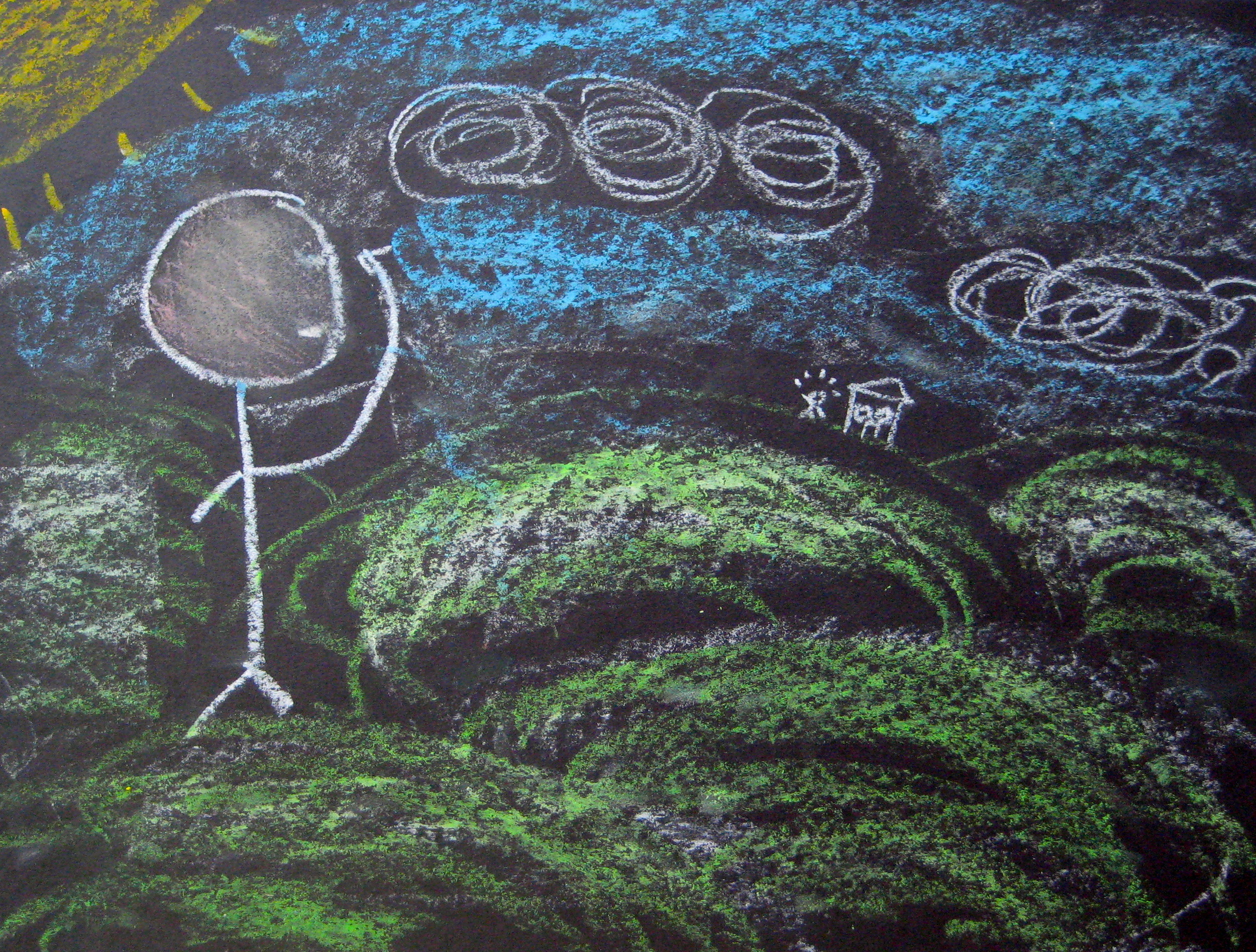 # 1: using a light touch and the side of the oil pastel.