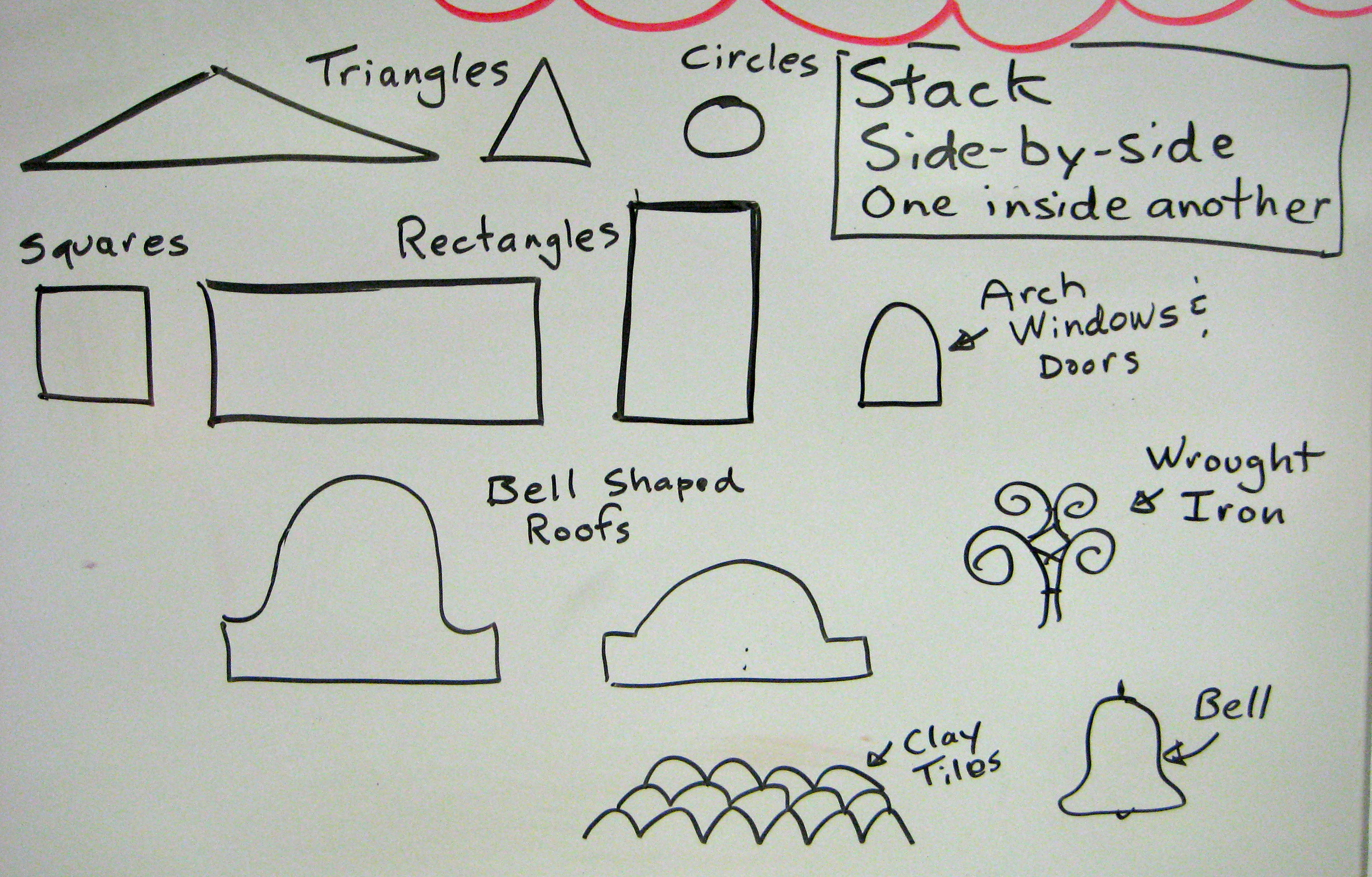 Image # 1      Basic Building Shapes  from California Missions: Ideas for how to combine the basic shapes from the missions to create a new building by  stacking, side-by-side and one shape inside another shape.