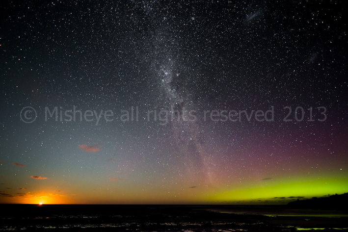 Aurora Australis and moon rise