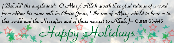 To my Christian friends, Merry Christmas, Feliz Navidad, and Happy Holidays  :)