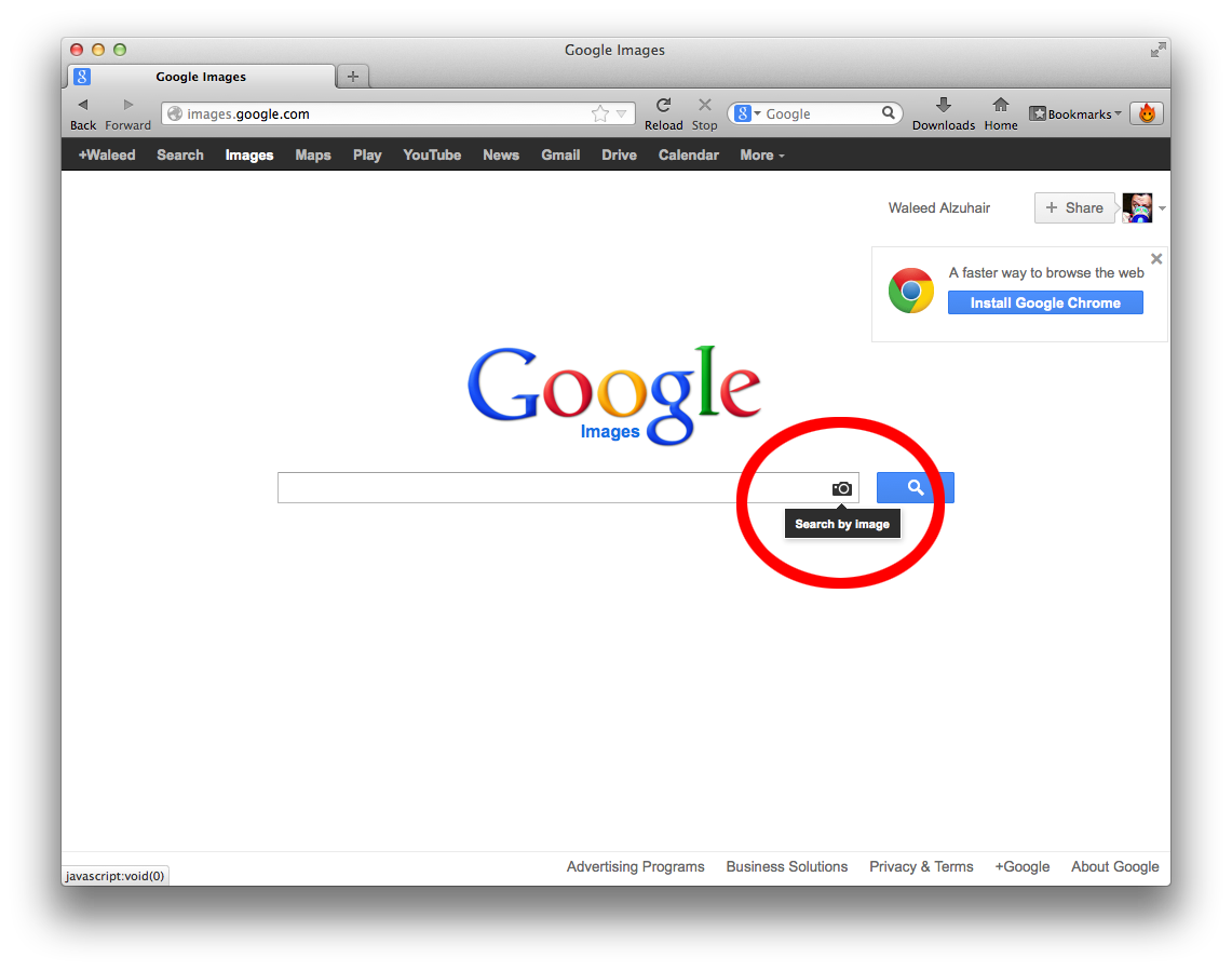 2. Click on the camera icon in the search field