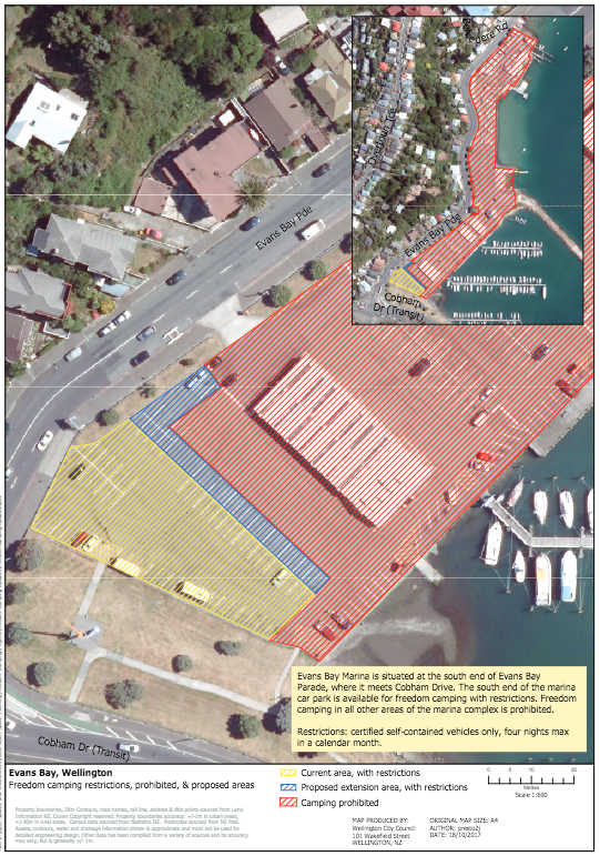 Map of the proposed freedom camping extension. The yellow area is the existing freedom camping area, and blue area is the proposed extension.  Taken from WCC Statement of Proposal