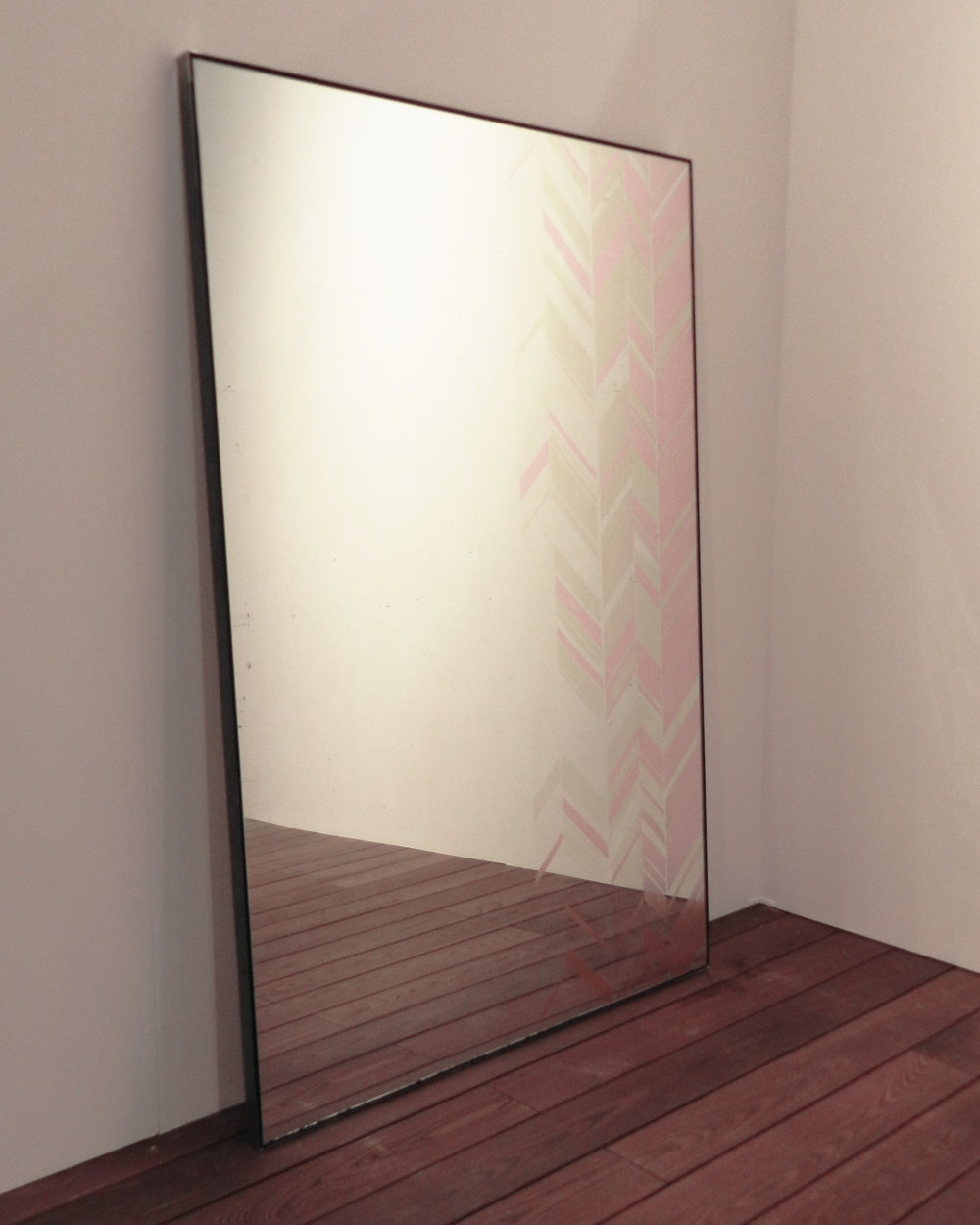 Chevron verre eglomise mirror - dyed pink silver leaf, silver leaf and white gold leaf.