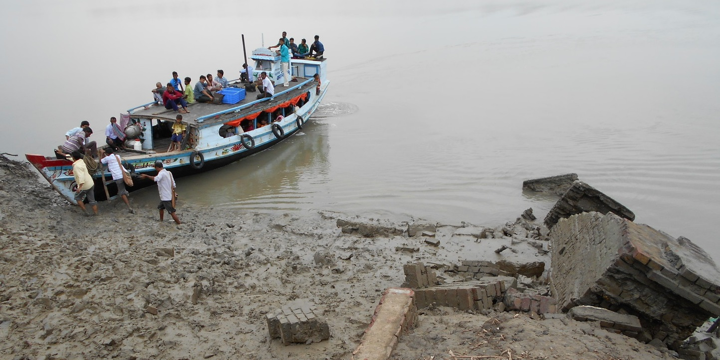 This ferry landing (ghat) has been broken for last three months. This is the only way to cross the river. The mainland, where the nearest Public Health Centre is located, is on the other side. Photographer: Sita Das (Jayasree Colony, G-plot)