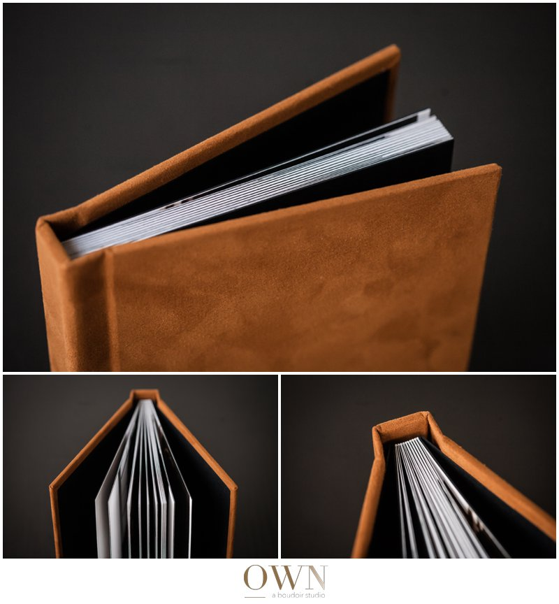 Here you can see the binding and pages, as well as some more of that suede texture. I love the orange!
