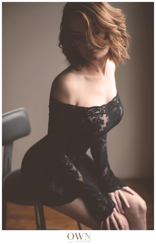 atlanta boudoir redhead woman lace lingerie black photography