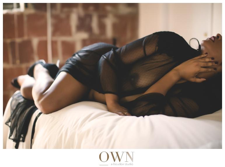 woman in a black see through robe boudoir atlanta georgia