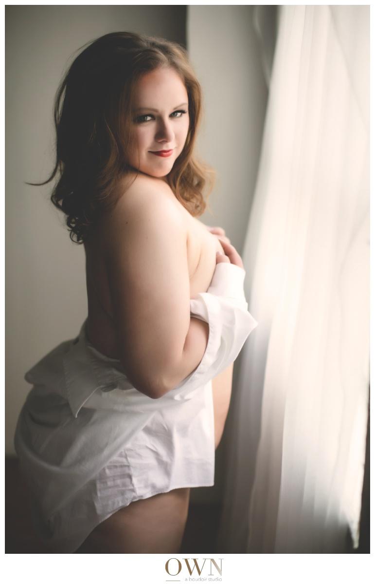 red head boudoir atlanta curvy woman