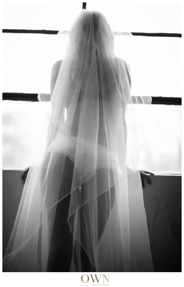 own boudoir atlanta bridal boudoir session black and white