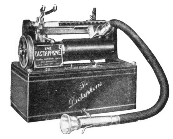 Dictaphone from 1920s. Photo is credited to the Columbia Phonograph Co.