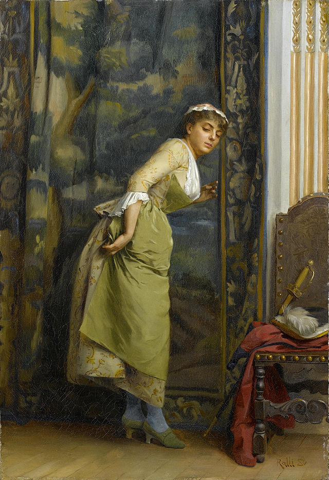Eavesdropping, painting by Théodore Jacques Ralli, 1880 (image is in the public domain)