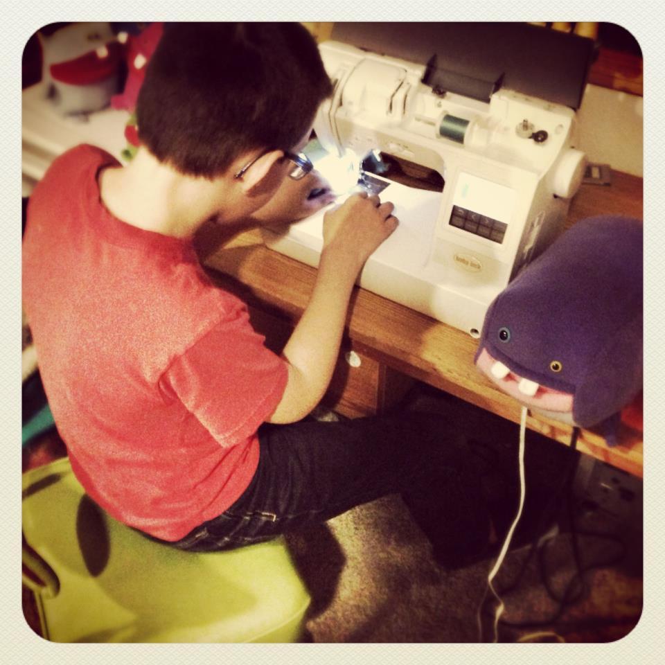Sam hard at work on Blob