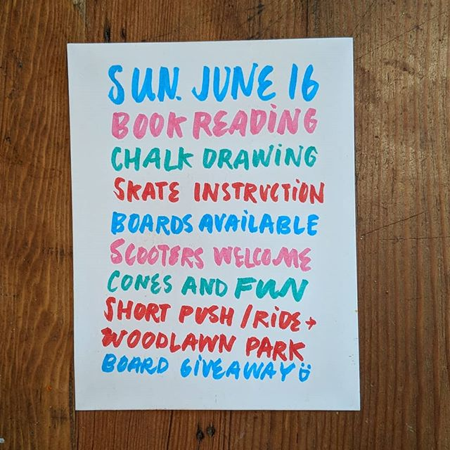 I'm hosting a Pedalplooza Event and I'm so behind on sharing about it! Eep! But it's happening! Sunday, June 16 @ 11am on the northern blacktop of Woodlawn Elementary - hope you can join me! ... All ages - if you like parking lot skates, being read to, drawing demos, chalk fun, or chatting with good people. If you're a shredder, come hold someone's hand. If you're just curious, come peep!