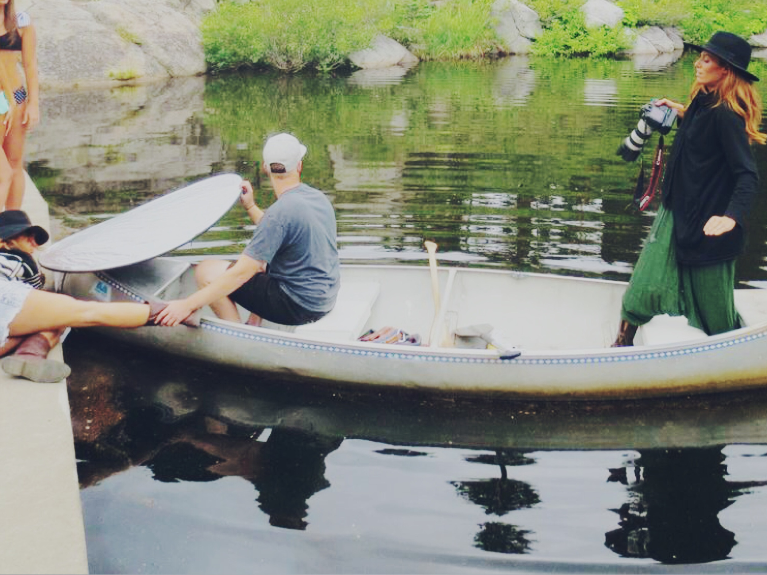 Shooting from said canoe + Austin using Antonia's leg to steer.