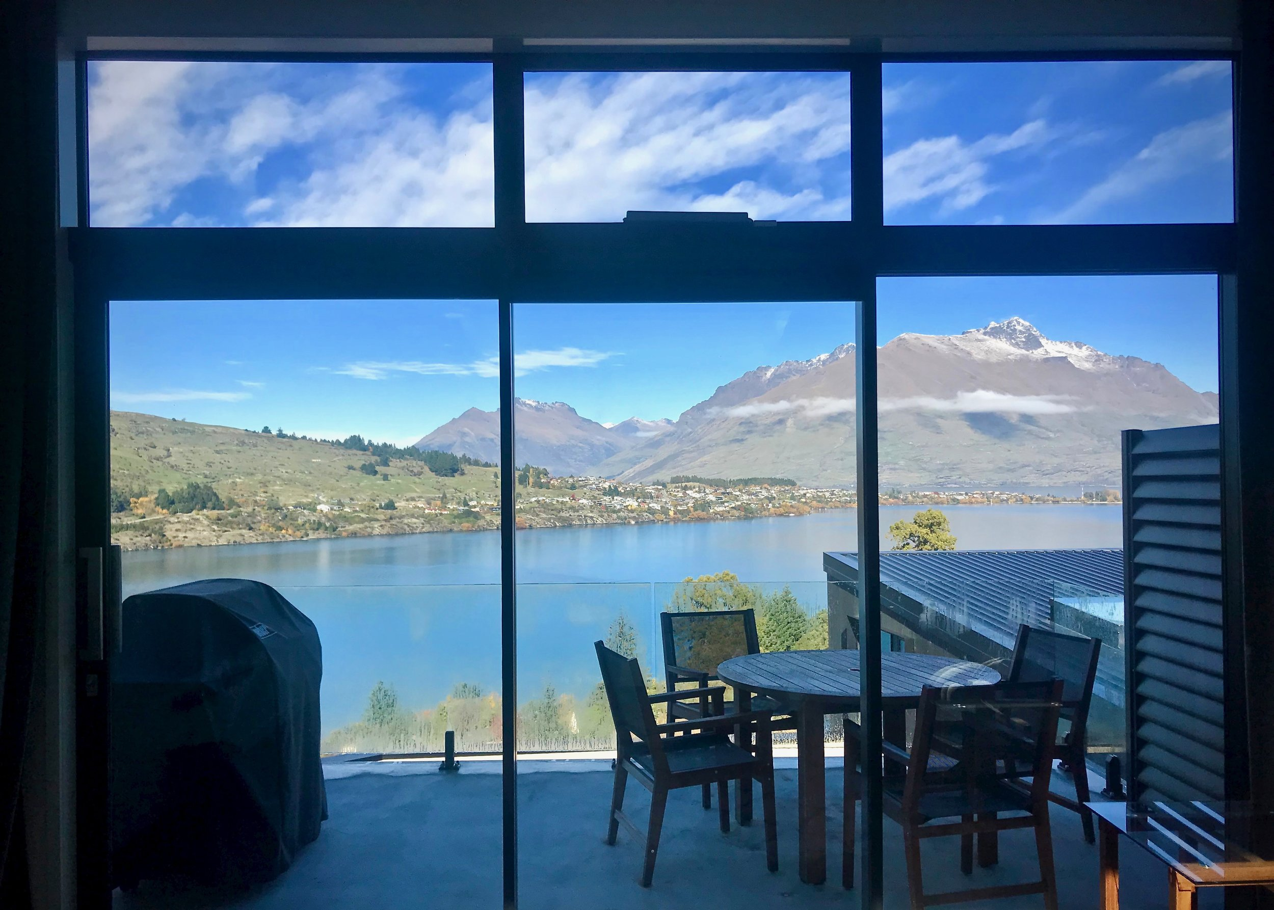 Lake Wakatipu as seen from our Airbnb living room