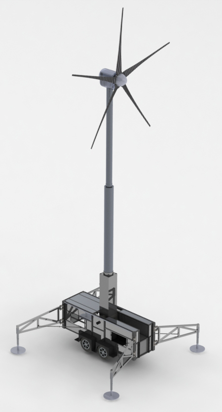 Uprise Energy  Mobile Power Station  10kW portable wind turbine