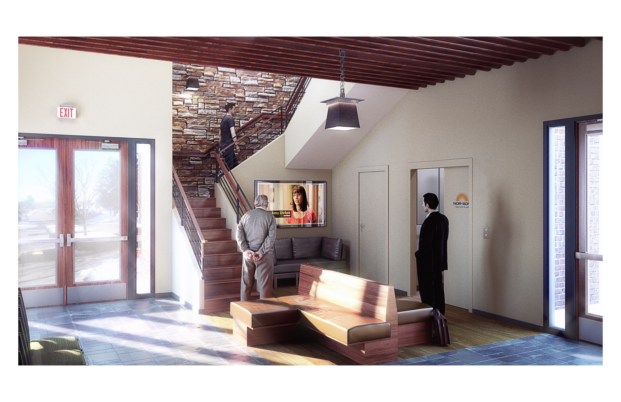 Lobby Rendering Using 3D People Scans