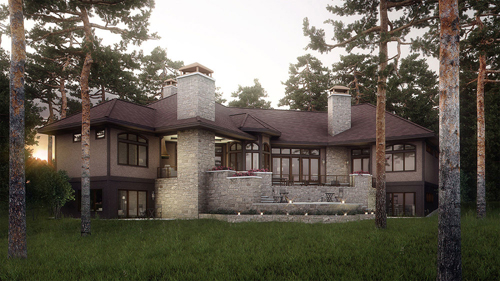 Image: 'The House in the Woods', Exterior Photo-Real Rendering (Bobby Parker)