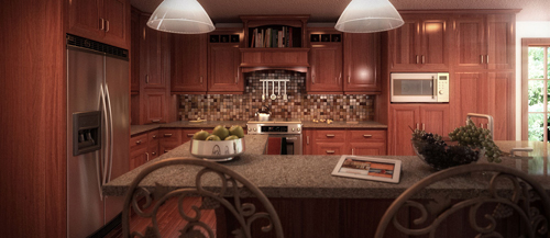 Image: 'The Red Wood Crystal Kitchen', Interior Photo-Real Rendering (Bobby Parker)