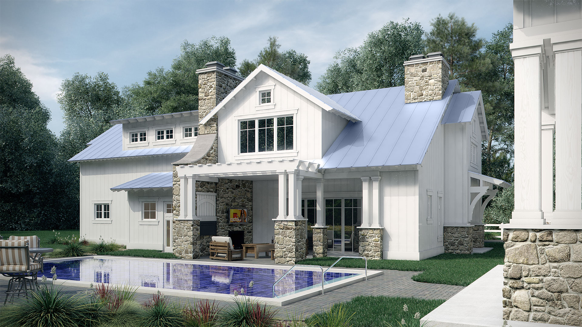Pool side of the Carriage House Architectural Rendering