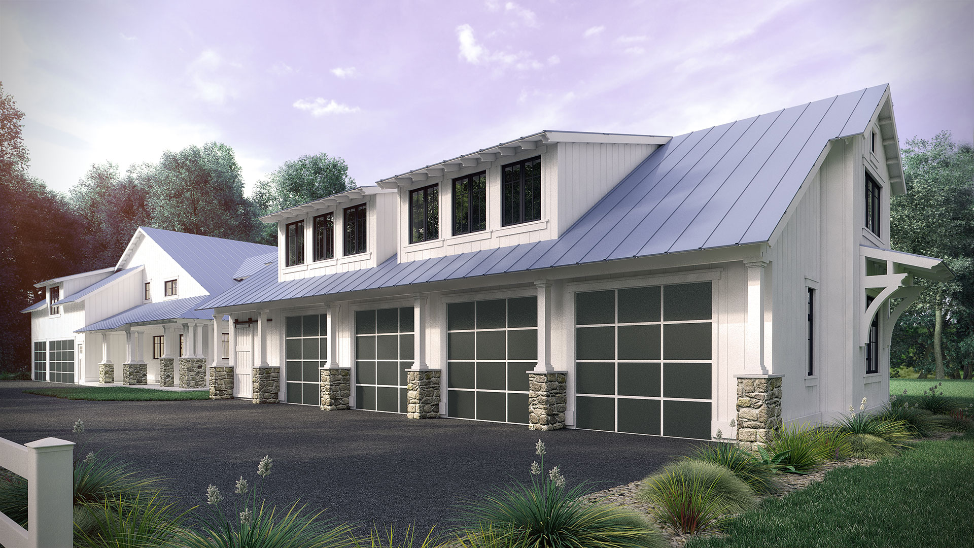 Driveway side of the Carriage House Architectural Rendering