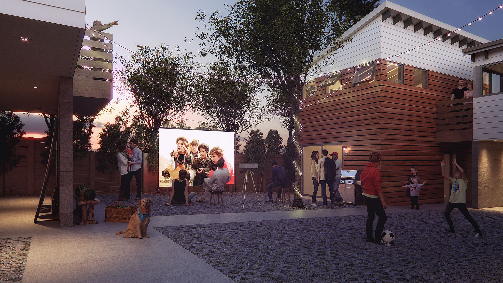 The Shed Architecural Rendering - Courtyard