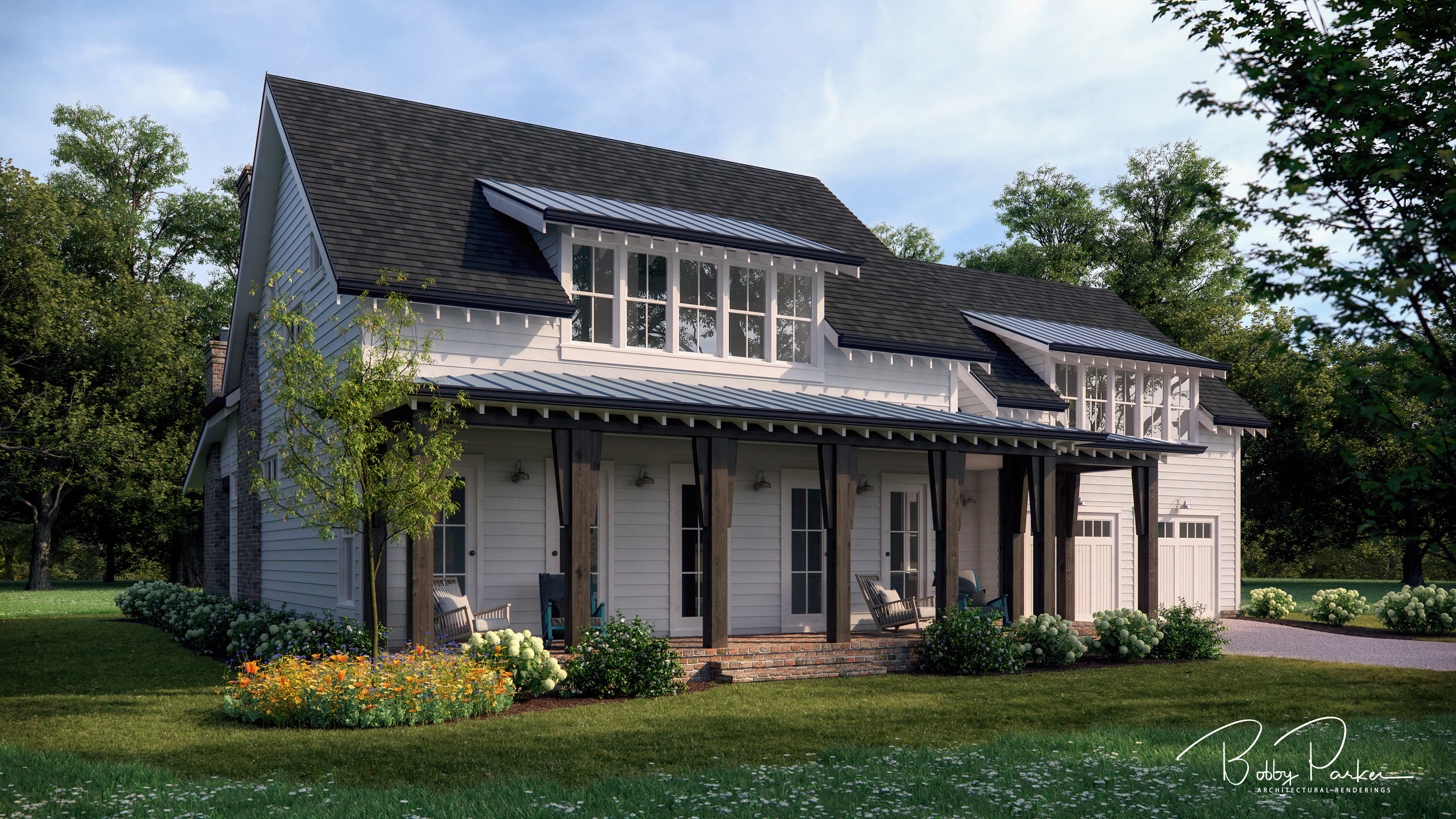 Summer Farmhouse Rendering - Option A