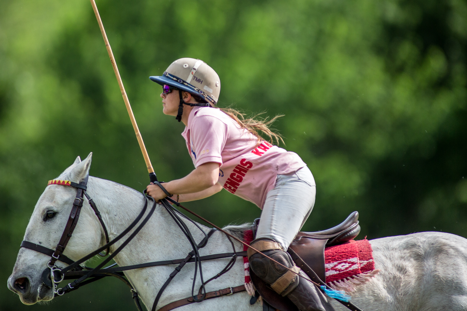 Hudspeth on one of her favorite polo ponies, Blueduck, during the first scrimmage match of Houston's spring polo season.