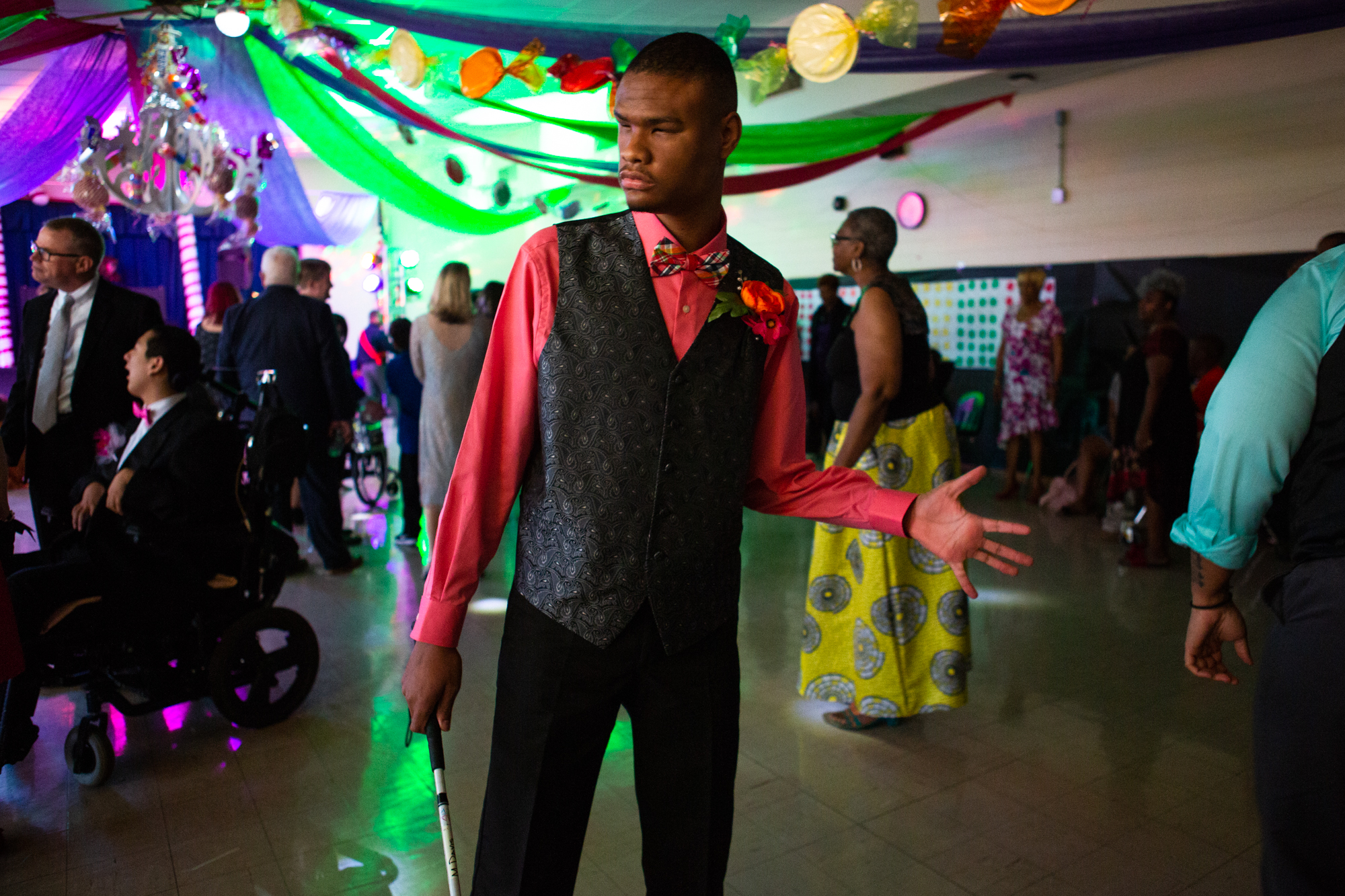 """Matthew enjoys a dance at his school's prom celebration on May 19, 2018. This year's theme was """"Candyland""""."""