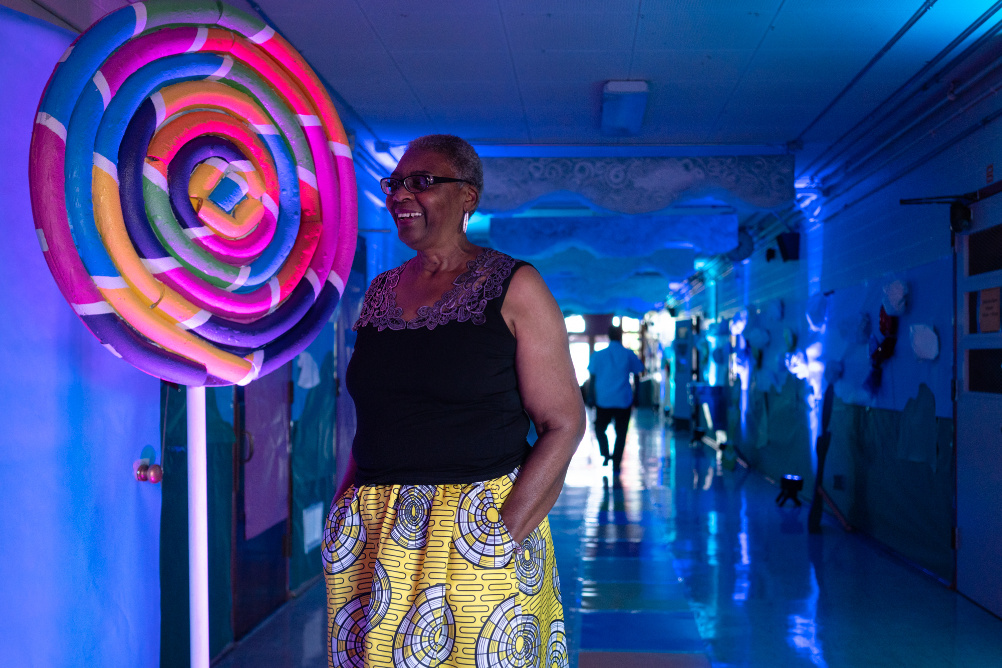 Gwen waits outside of the dining area at her son Matthew's prom held at Rosedale School on May 19, 2018.