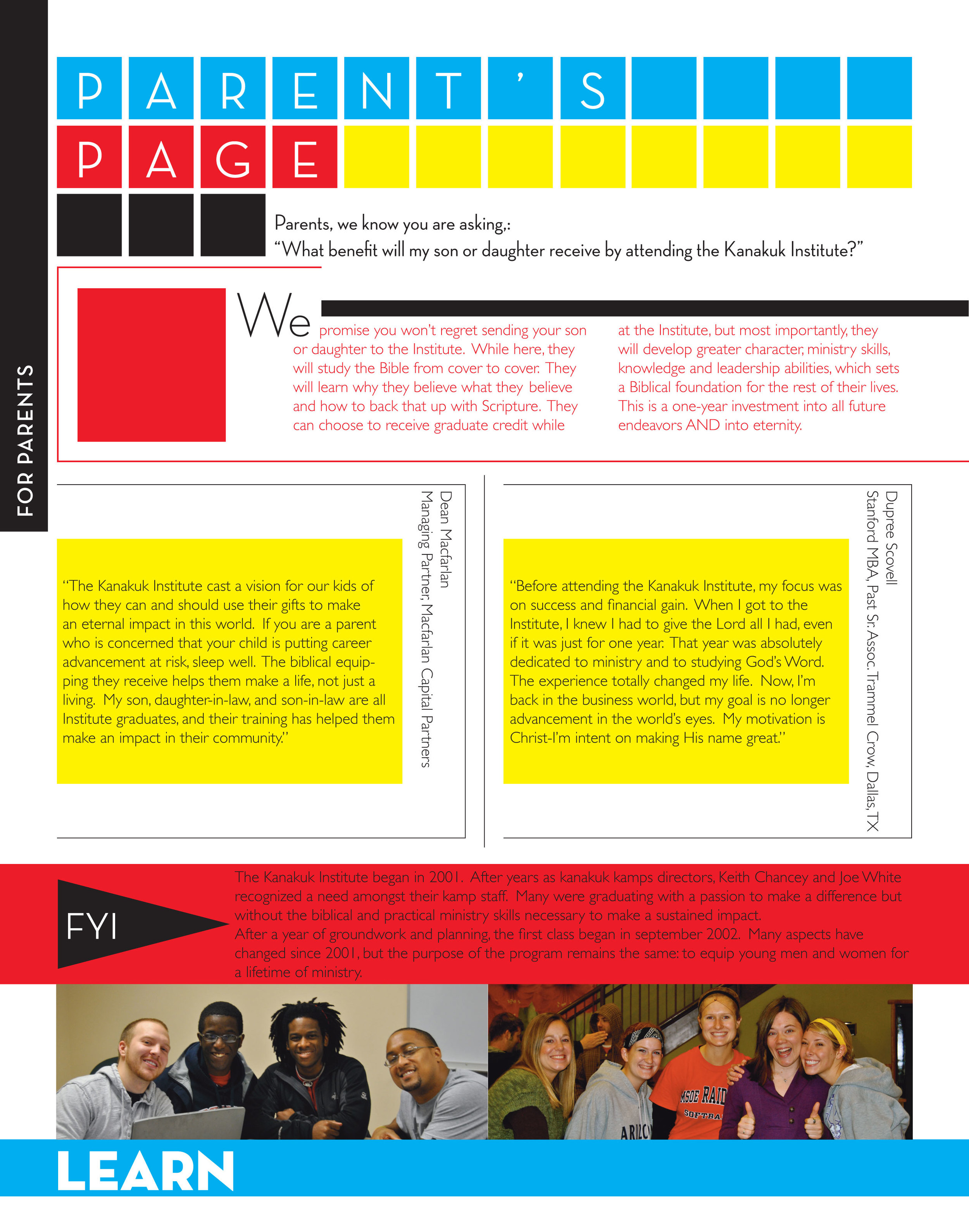 layout sampling from 16-page recruiting catalog
