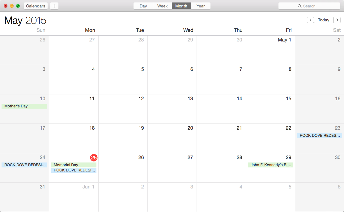 Blocked out times in my calendar