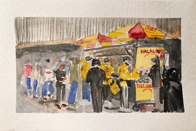 The Halal Guys gouache sketch. Dinner for the late night sinners.