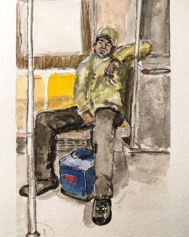 MTA Sleep - Gouache sketch.