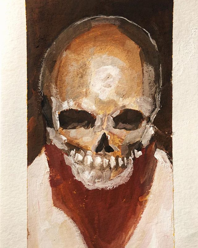 If you kill all your demons, all of your angels may die too . . .  Skull gouache sketch.