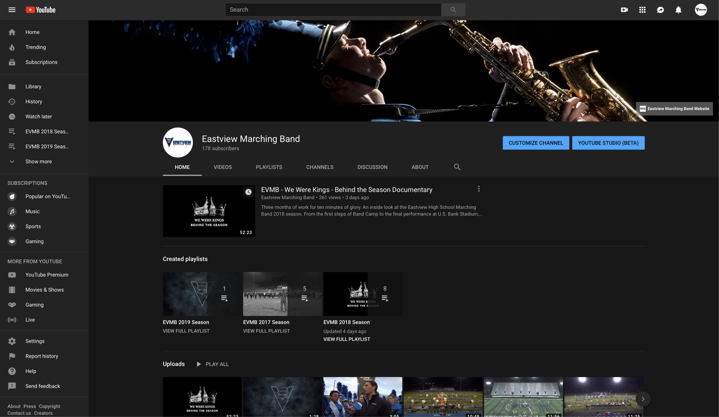 Eastview Marching Band YouTube Channel
