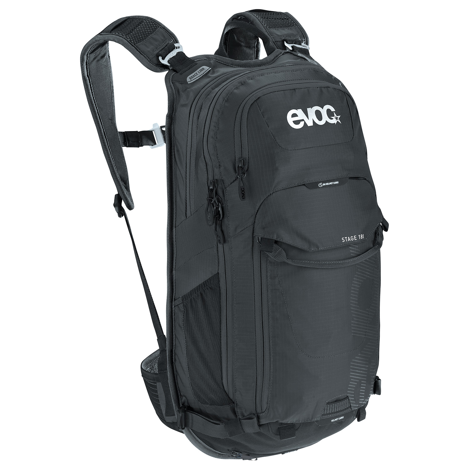 STAGE 18l - The EVOC STAGE 18l is a multi-faceted, technical daypack. The series is characterised by the BRACE LINK carrying system, which adapts to the wearer's individual shoulder width.