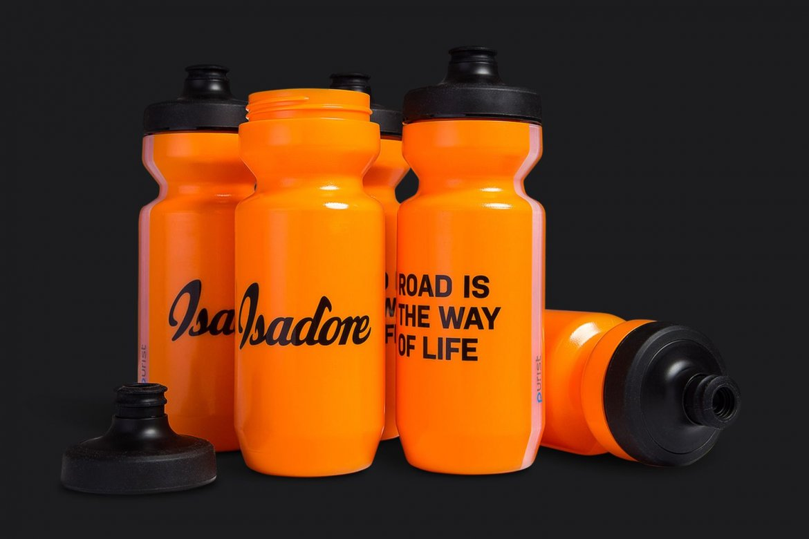 "SIGNATURE BIDON - Isadore Bidons are an oasis for long rides and on hot weather.  The Signature bidon features our logo and brand manifesto: ""Road is the way of life""."