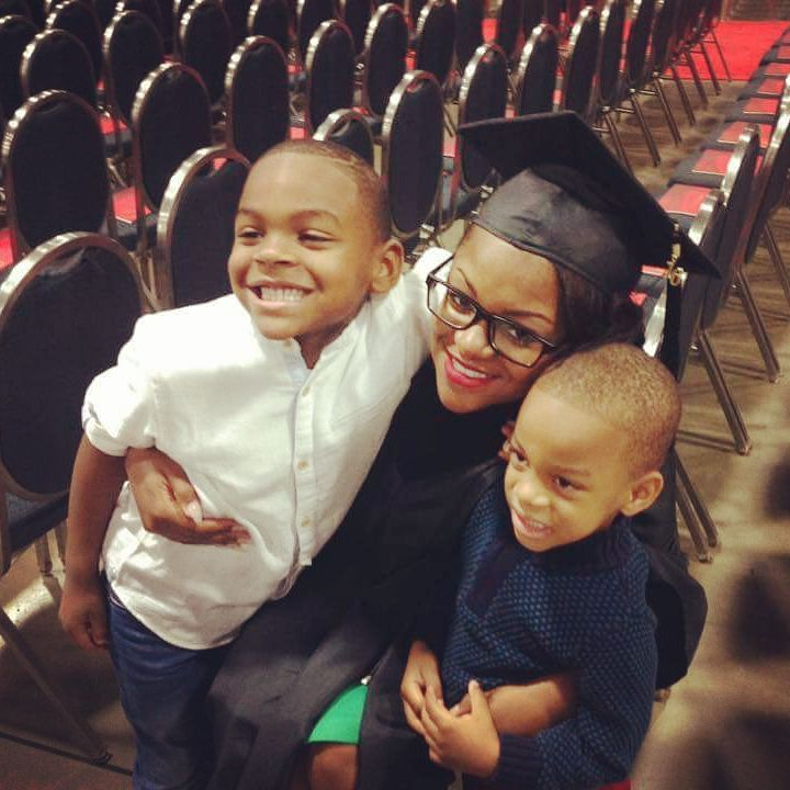 Scholar Alumna T'Nay Williams with her children on graduation day at the University of the District of Columbia Community College!
