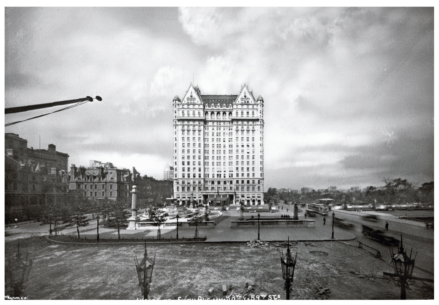 WHITE BEACON: The Plaza was designed as a French chateau in skyscraper proportions, with a facade of marble and white terracotta, and a copper mansard roof that reflected the green of nearby Central Park. Here it is in 1920, dominating the skyline.