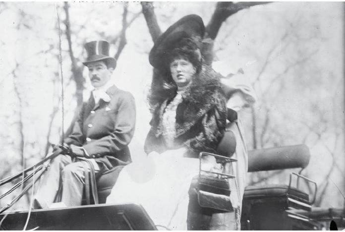 PLAZA ON PARADE: On the Plaza's opening day, October 1, 1907, a stream of New York's wealthiest citizens arrived to check in to the hotel. None was more celebrated than the dashing Alfred Gwynne Vanderbilt, who remains indelible as the hotel's inaugural guest. Here he is with his first wife, Elsie French, whom he divorced shortly after moving into the Plaza.