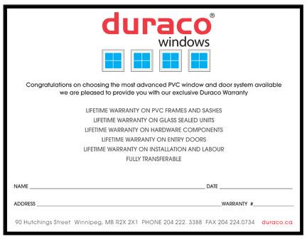 Duraco Unlimited Lifetime Warranty