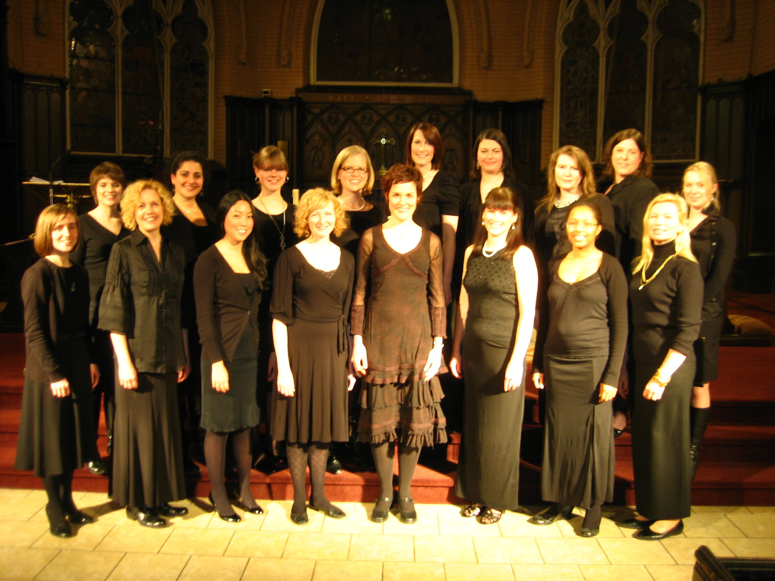 A picture of Cantala after one of our earliest 6 week choir projects. Picture taken December 2009. Pictured here is Nancy Dawe (Currently President of Board), Allison Lockett (Secretary of Board), and Rebecca Enkin (Recent on leave member) and Angela Nelson-Heesch (recent on leave member). All the others were short term members who have either moved away from Toronto and/or only sang once or twice with me. Many have continued to keep in touch via facebook as their lives take a different musical turn. (Who would have guessed that Marnie Sohn would take baby pictures of my first born 4 years later or that many of our children (that were yet to be born) would play together and share a nanny one day......) Needless to say, there is a lot of personal history in this photograph. The singers of Cantala have touched my life in many different ways.