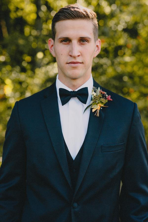 Boutonniere   Black Tux   Bowtie   Philosophy Flowers   Blest Studios   North Carolina Wedding