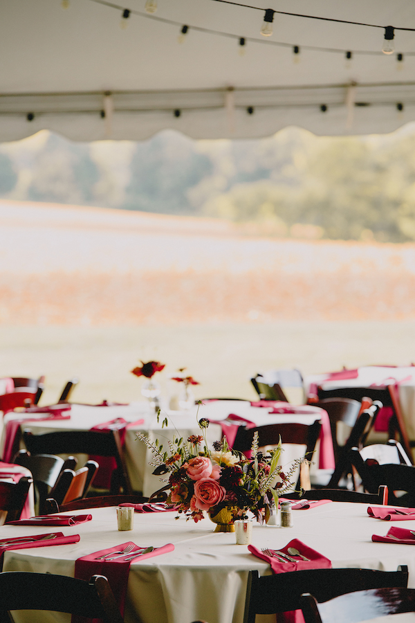 Berry Palette   Kline Farm   Tented Wedding   Romantic Antique Garden Roses   Queen Red Lime Zinnias   Philosophy Flowers   Kelly Perry   Blest Studios   North Carolina Wedding   Wedding Decor